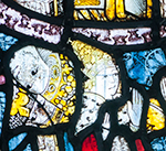 Medival stained glass fragments