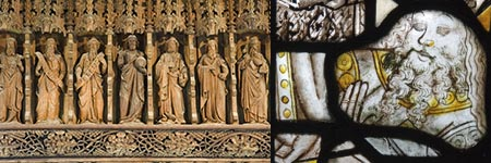 Nineteenth century carved wooden figures and medieval stained glass.