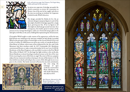 Double page spread from the book Stained Glass at the Church of St Mary the Virgin, Tenby.